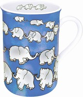 Chain of elephants - blue - mug