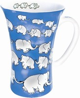 Chain of elephants - blue - mega mug