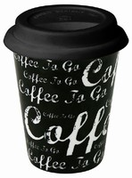 Coffee to go/Black - hrnek se silikonov�m v��kem