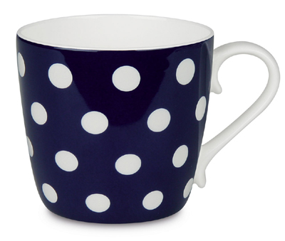 Colours/Polka dots/dark blue - hrnek