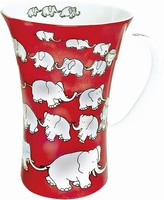 Chain of elephants - red - mega mug